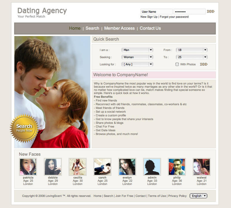 Dating site website template