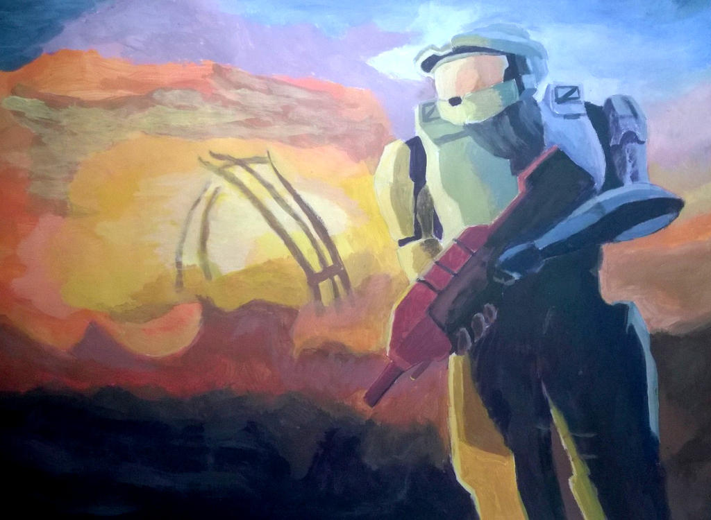 Halo 3 Cover Art Painting by TheAveryChu