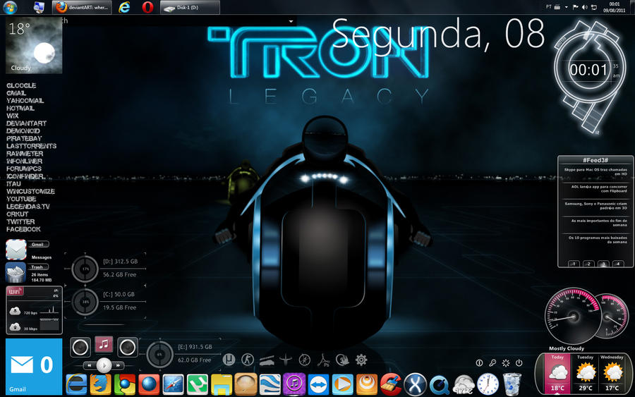 My Windows desktop 2011 - Tron by cleubinho