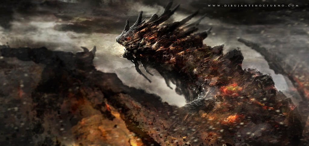 Magma dragon by Dibujante-nocturno