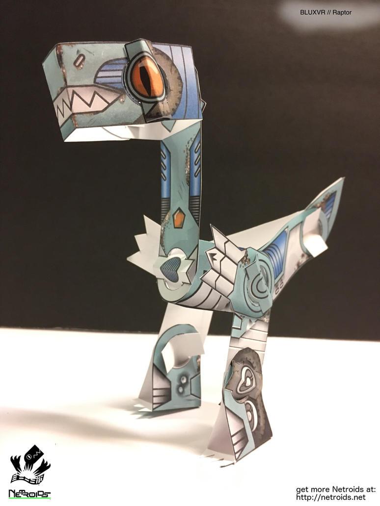 Raptor Netroid Papertoy blue variant by jimbox31