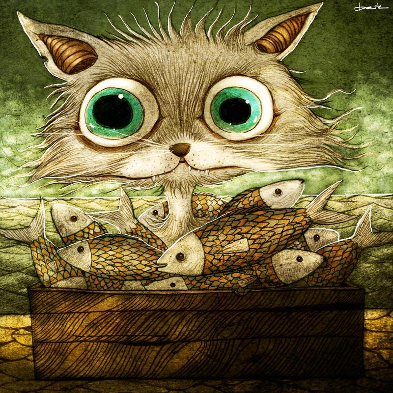 wet cat by berkozturk