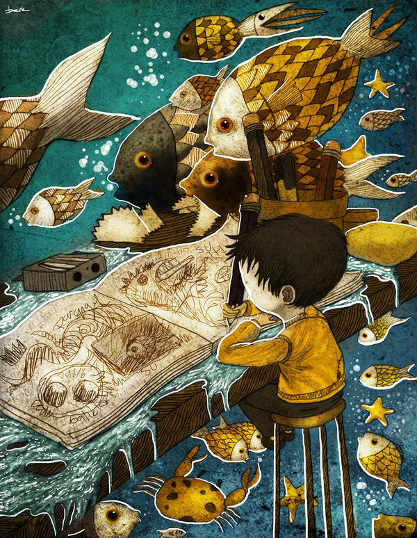 dreams of a fish child by berkozturk