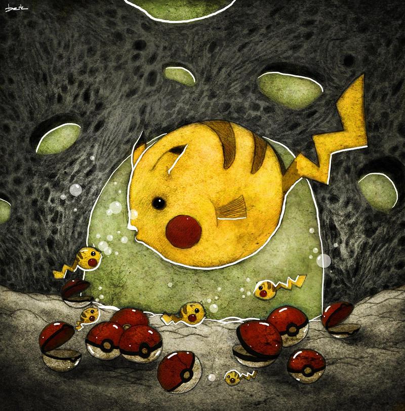 pikachu fish by berkozturk