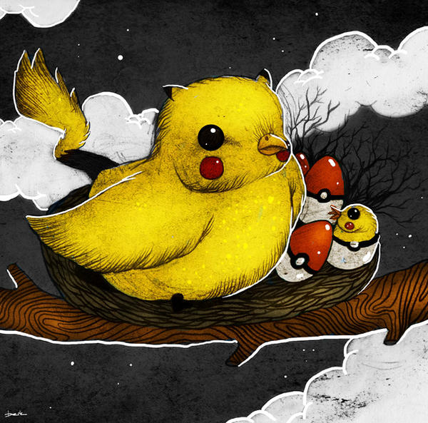 pikachu bird by berkozturk