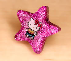 Hello Kitty Glitter ring by xLilithScreamx