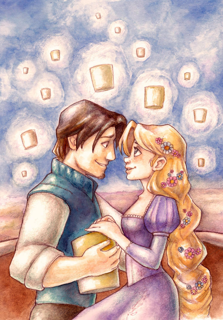 Tangled Rapunzel and Flynn by Gigei