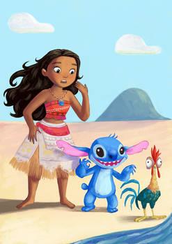 Moana and Stitch