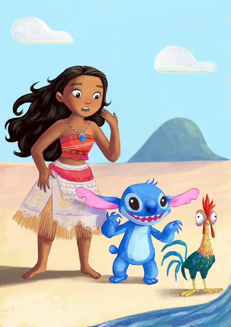 Moana and Stitch by Gigei