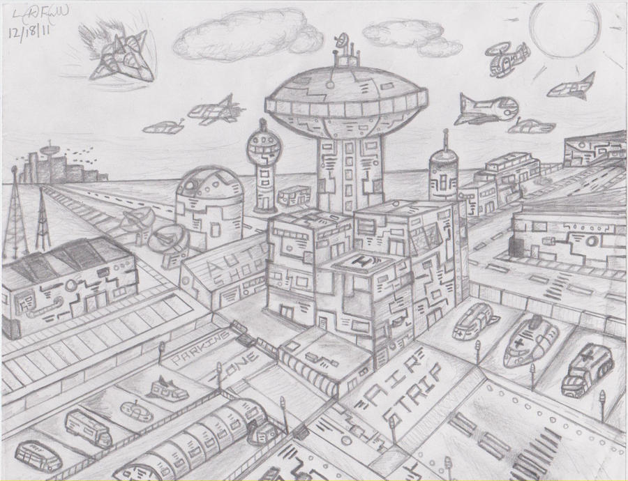 Point Perspective Futuristic City Futuristic Town By Lendeezy