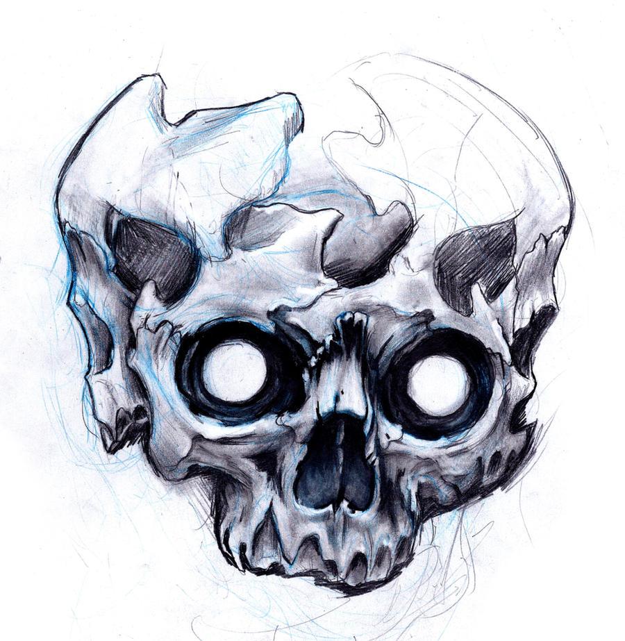 skulls sketch by uken on deviantart