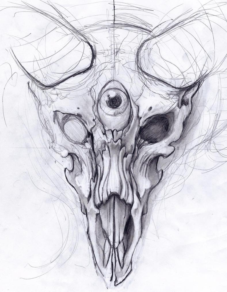 Goat Skull progress: 1 by Uken
