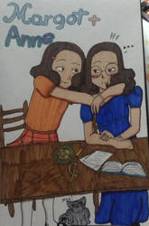 Margot and Anne Frank by Columbinefree