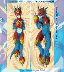 Dakimakura - Flamedramon Digimon by MonochromeAgent