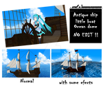 MMD Antique ship, little boat and ocean dome