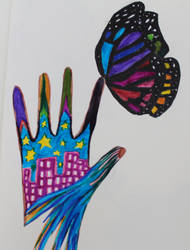 hand butterfly town