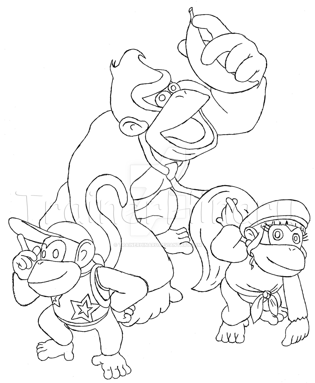 diddy dixie and donkey kong by trainerhinaru on deviantart