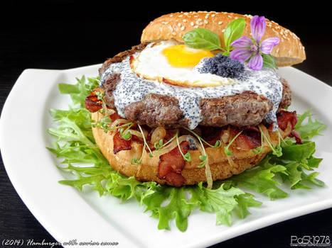 Hamburger with caviar sauce