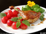 Duck with honey and melon