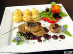 Medallions with blueberry sauce