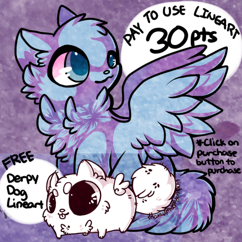 :Pay to Use Winged Cat Lineart: by PrePAWSterous