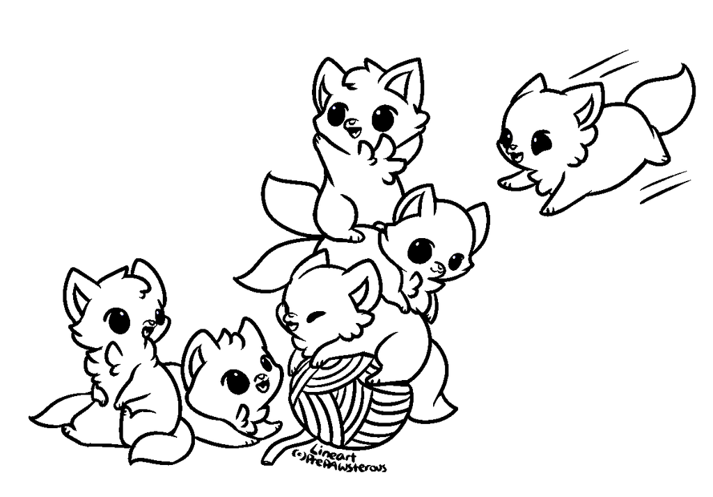 Line Art Group : Free use playful kittens lineart by prepawsterous on