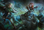 Elf Ranger vs Elf Necromancer Private Commission