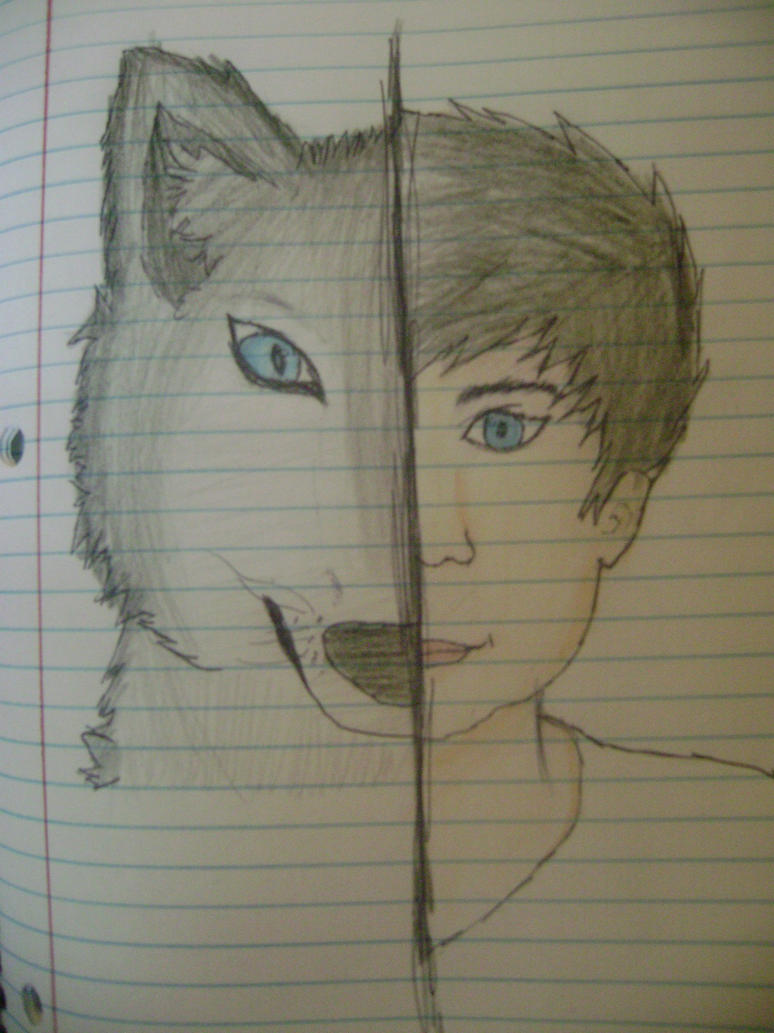 Half man half wolf drawing