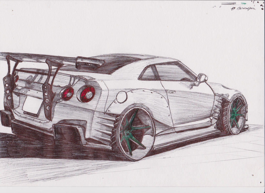 Line Drawing Nissan Gtr : How to draw nissan gtr r
