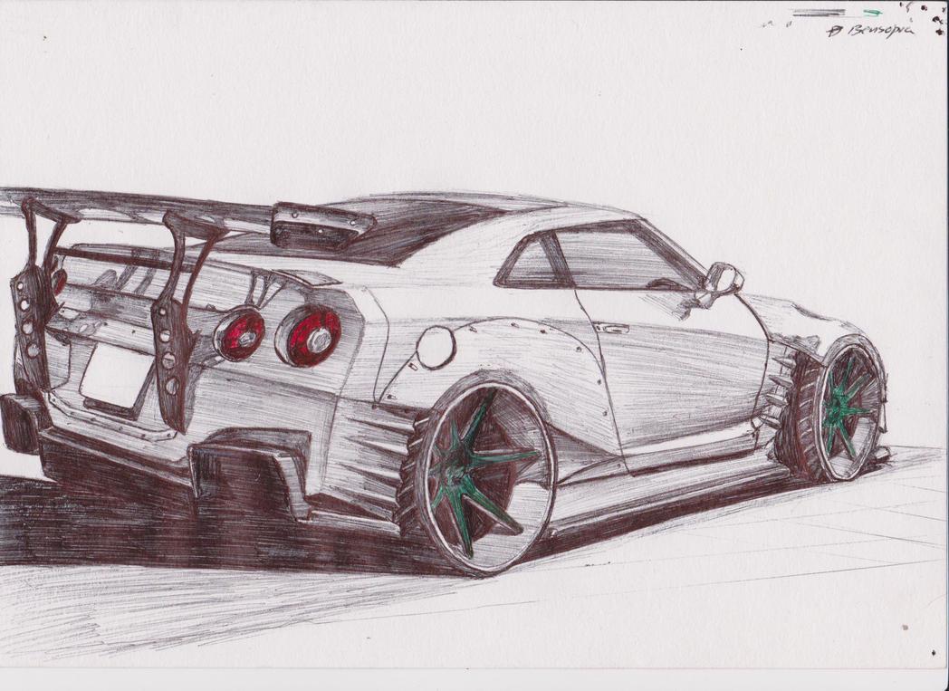 Line Drawing Nissan Gtr : How to draw nissan gtr r