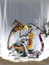 Shinji and Ichigo hollow by jen-and-kris