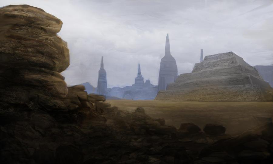 rocky plains pyramids by Shane-D-Solomon