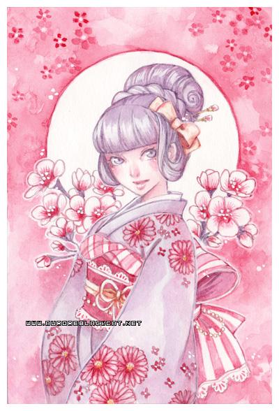 Pink flowers -watercolors- by auroreblackcat