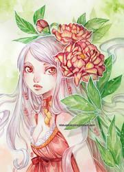 Vanille and peonies -watercolors- by auroreblackcat