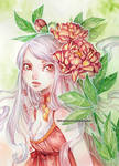 Vanille and peonies -watercolors-