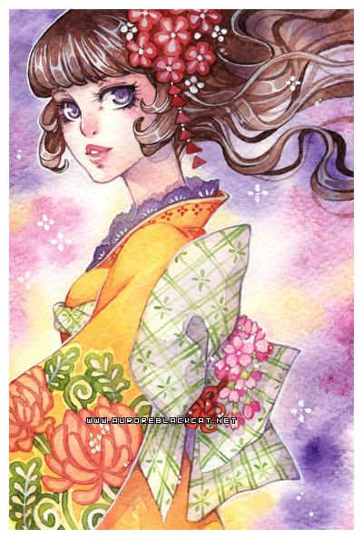 kimono -watercolors- by auroreblackcat