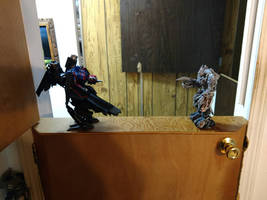 Optimus prime fighting Megatron