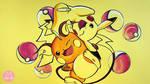 Pikachu and Raichu on Yellow Paper by ZinyArt