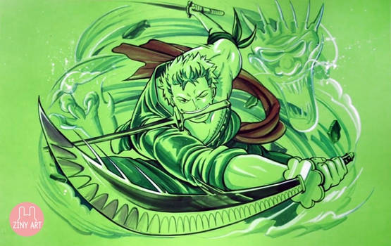 Drawing Roronoa Zoro from ONE PIECE - Green Paper