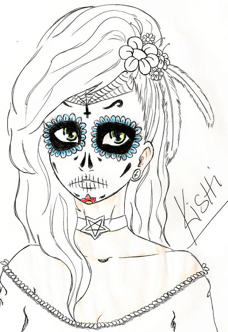 Skull Mexican Girl by KishiHana