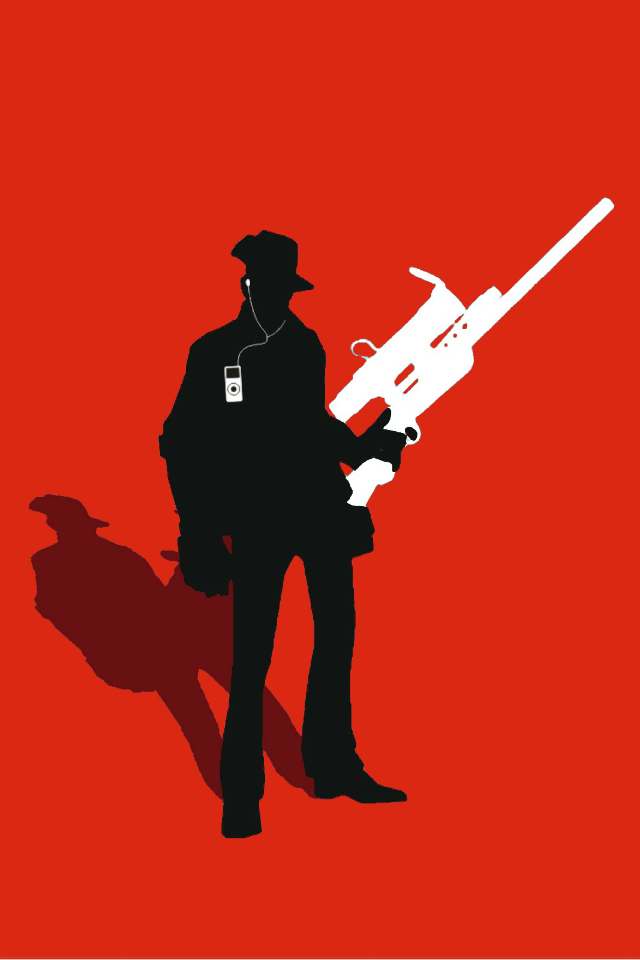 TF2 Red Sniper Silhouette Earbuds For IPhone4 4s By Cwegrecki