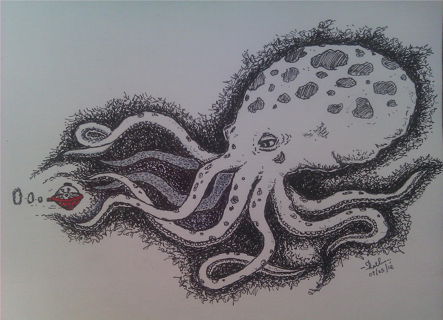 Giant Octopus Drawing Giant octopus n the alien