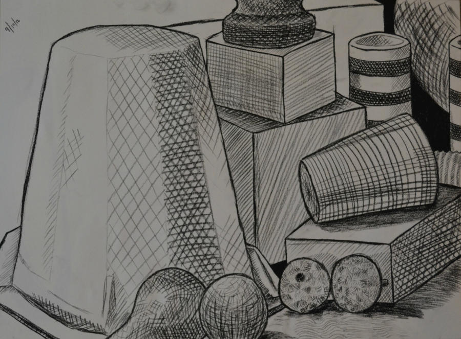 Contour Line Still Life Drawing : Cross contour still life study by thelonerfernclaw on
