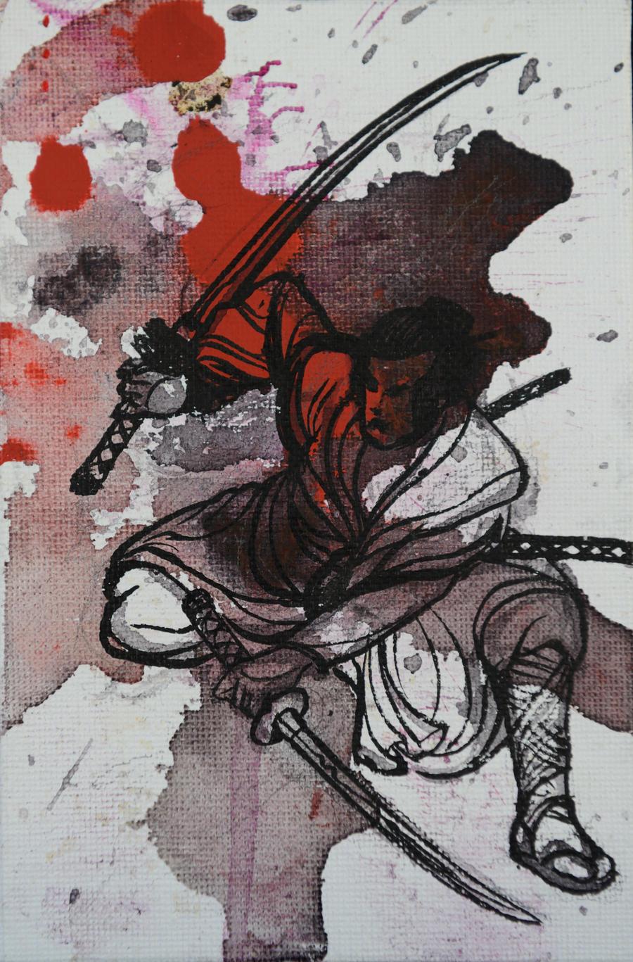 Samurai-Krieger mit zw...