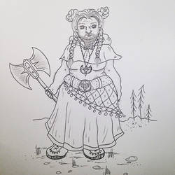 Line drawing - Cleric, Dwarf with badass buns! by mandaaapandaaa