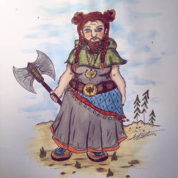 Full colour - Cleric, Dwarf with badass buns by mandaaapandaaa