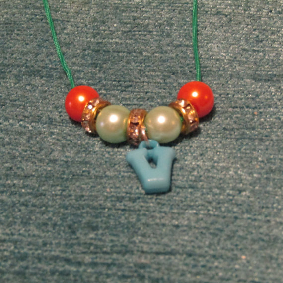 children s v initial necklace by artisticdreamer85 on