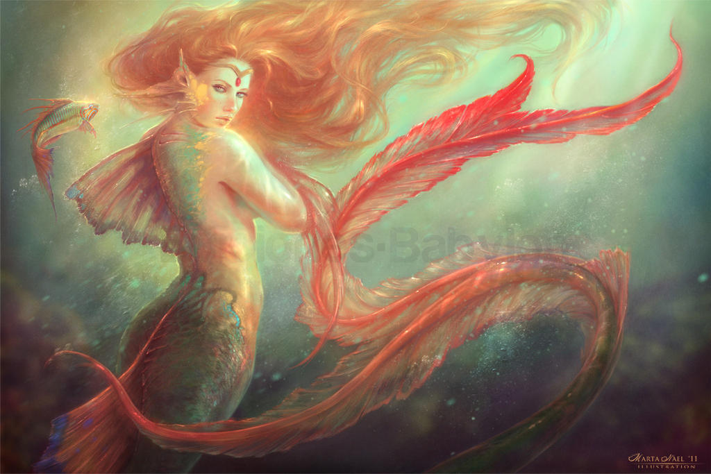 Mermaid and her alter ego fish