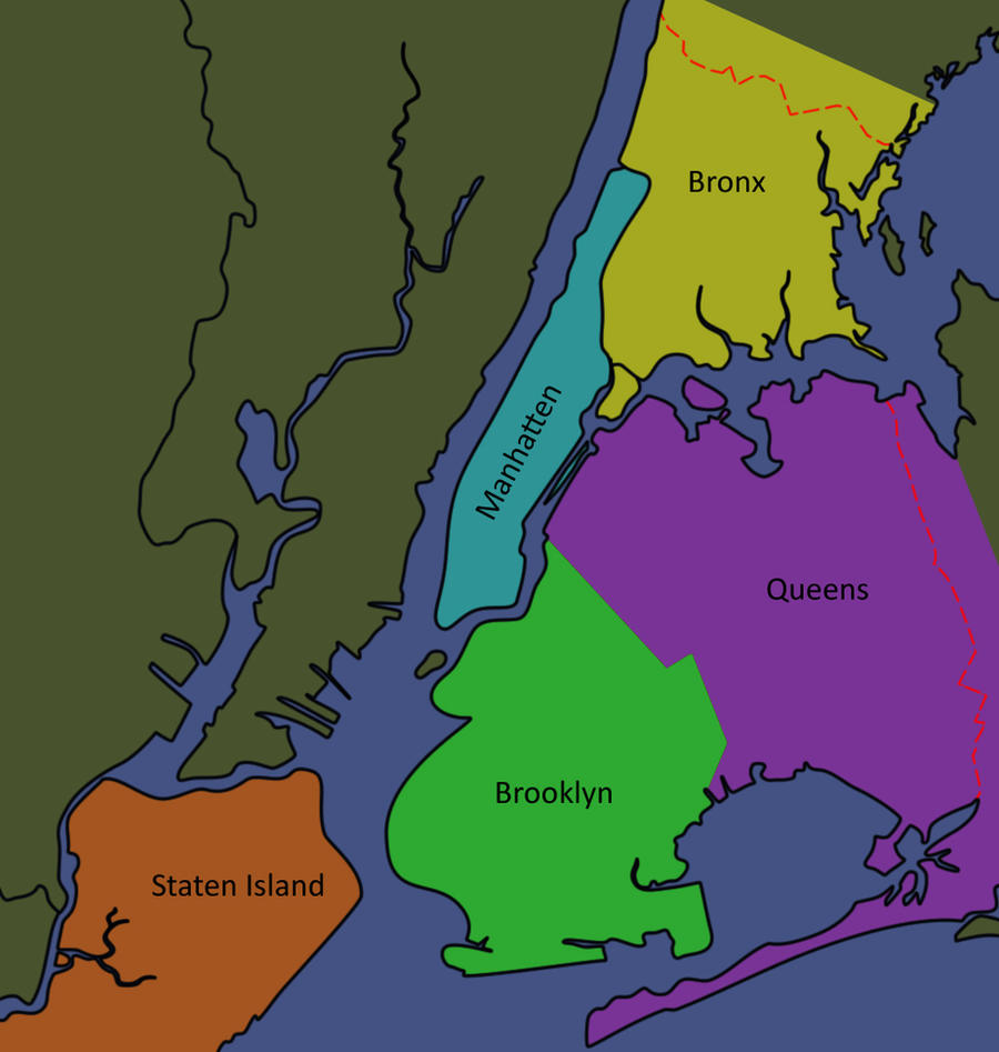 Five Boroughs Of New York City Outline Map Stock Photo Royalty - Nyc map of boroughs