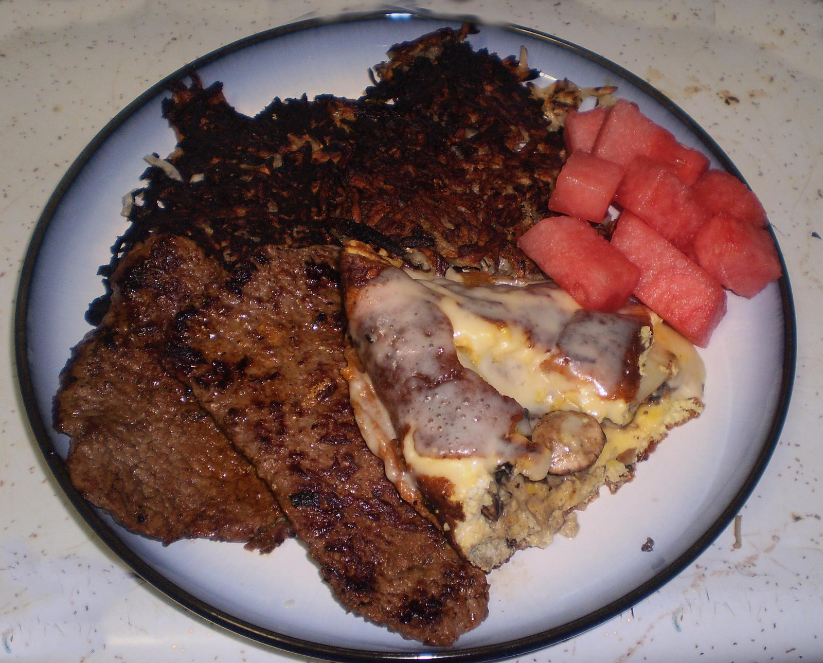 Cheese Mushroom Omelette with Latkes and Steak by KuroInuSama69 on ...